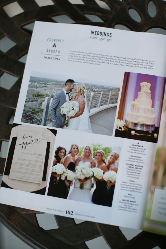 ritz carlton palm springs wedding published in exquisite weddings magazine
